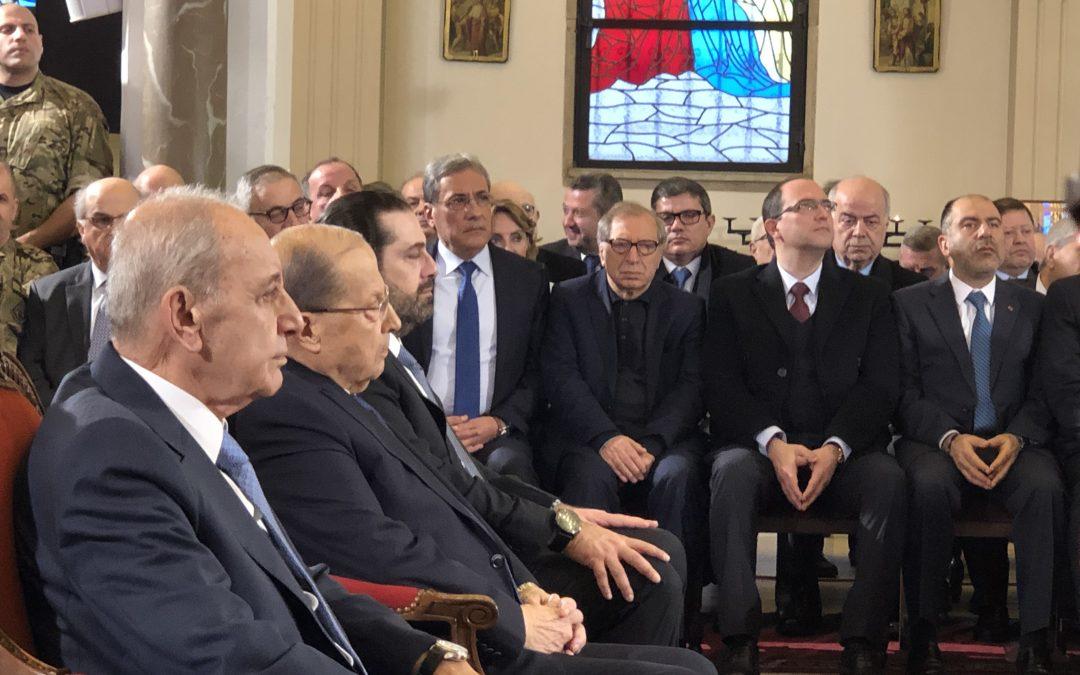 عون وبري والحريري شاركوا بقداس عيد مار مارون في الجميزة  مطر: الحكومة الأولى للعهد ستكون المنطلق لصعود لبنان نحو القمة